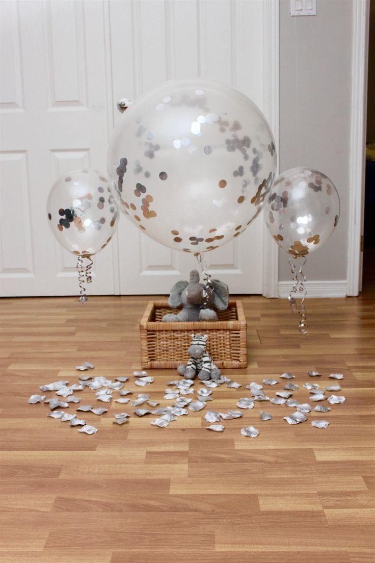 "5pc 36"" +3pc 12"" Jumbo Silver Confetti Filled Balloons | Wedding Balloons Birthday Christmas and New Year Balloons | Bridal Shower Balloons"