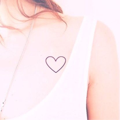 2pcs Heart Simple Outline tattoo  InknArt Temporary by InknArt, $3.99