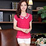 Mulheres Blusa Casual Simples / Moda de Rua Verão,Sólido Rosa / Branco / Verde Raiom / Poliéster Decote Redondo Manga Curta Fina de 2017 por R$54.05