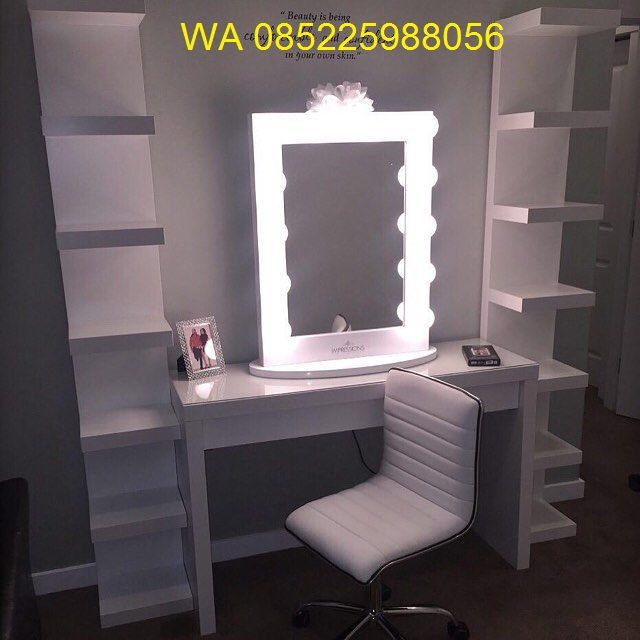 Meja Rias Lampu Minimalis Putih Model, Diy Lampu Makeup