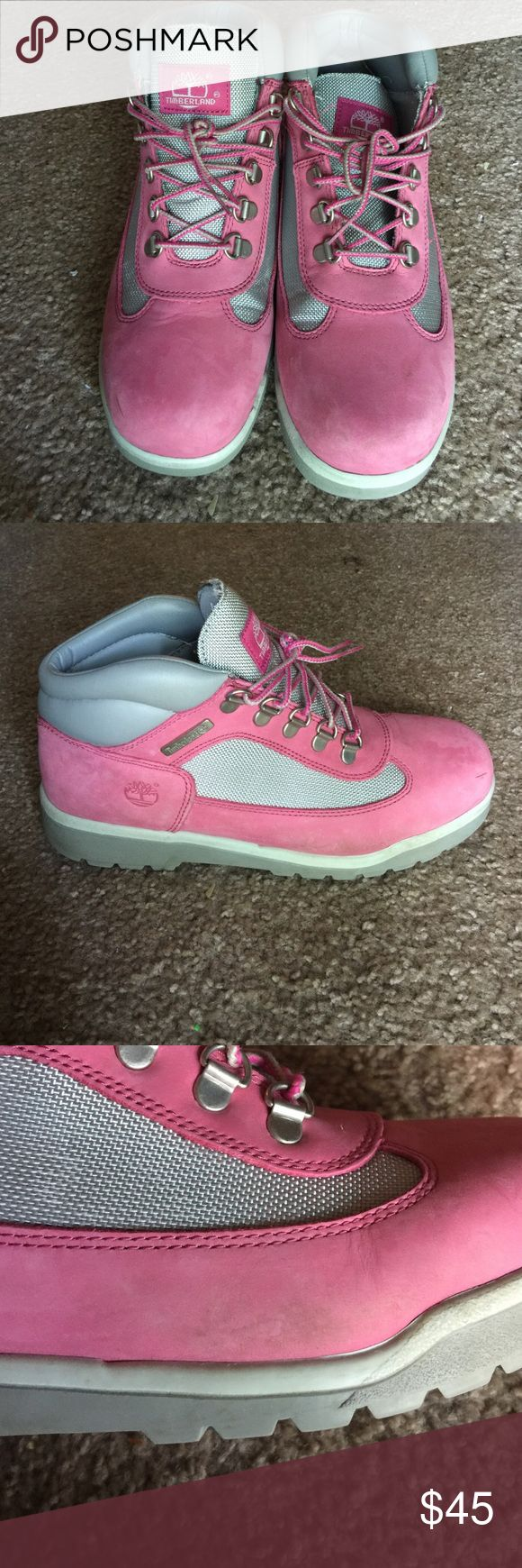 Timberland Field Boot pink/grey Pink and semi metallic grey, very minimal marks, box is included, laces included, very comfortable Timberland Shoes Winter & Rain Boots