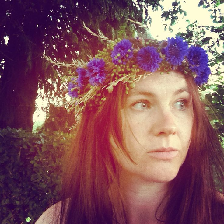 Cornflower floral crown with some added grass seed heads