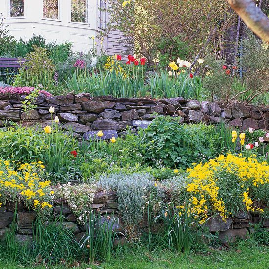 Create a Colorful CliffColors Cliff, Cottages Gardens, Retaining Walls, Stones Wall, Sloped Gardens, Front Yards, Flower Gardens, Gardens Design, Colors Gardens Ideas