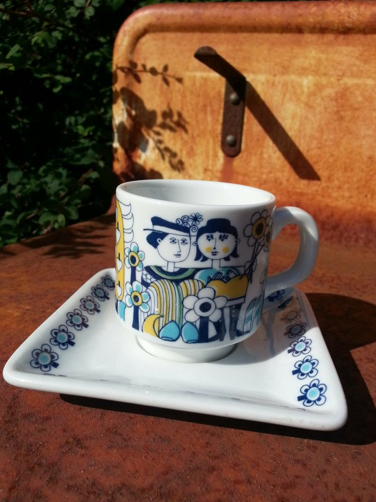 Retro 60s Mosa Maastricht coffee cup and saucer. By bjørn wiinblad