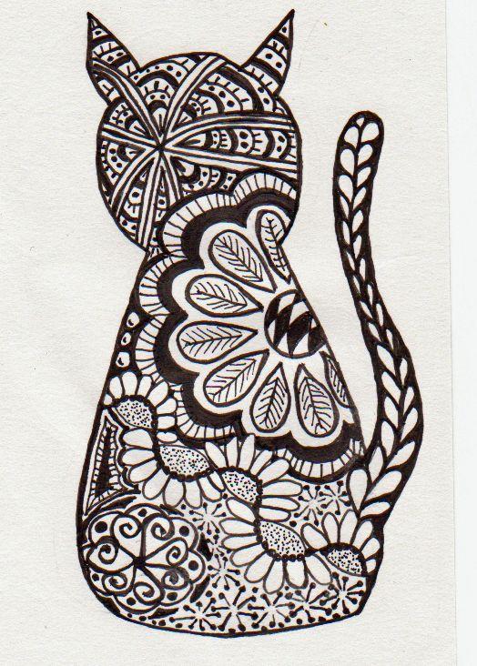 Zentangle Cat Doodles Pinterest Zentangle Coloring