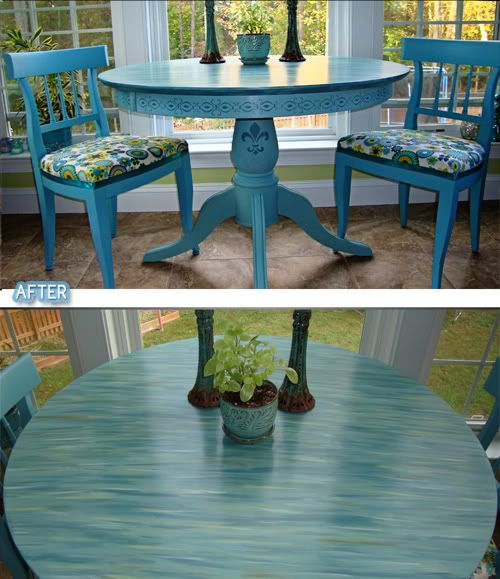 teal painted kitchen table. meet my new kitchen table and command