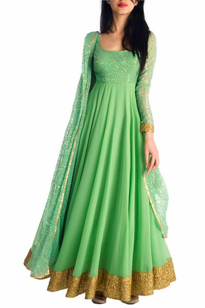 6Y Collective - Jade Sequined Anarkali. I love the fashions of India. Such beautiful fabrics.