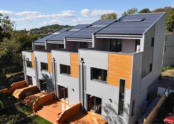 Boston townhouses by ISA produce a surplus of energy   roof solar panels