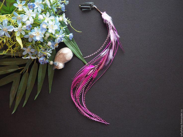 Ягодный мусс - яркие розовые перья для волос на съемной заколке - полосатый, перо, перья
