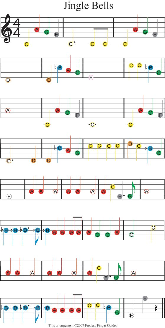 "Easy Guitar Christmas Sheet Music | Easy Guitar Songs Color Coded Christmas Sheet Music for ""Jingle Bells"""