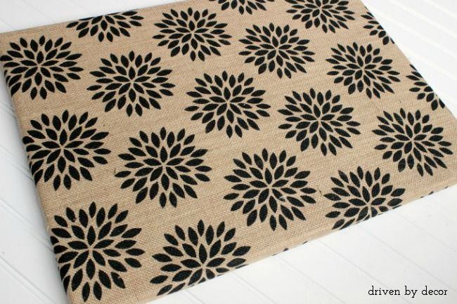 Fun patterned burlap used to cover a bulletin board