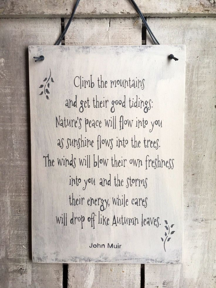 Climb The Mountains. John Muir. Inspirational Sign. Handpainted Sign. Ski Lodge Decor. Gift For Him/Her. Rustic Wood Sign. Unique Gift by InspirationToArt on Etsy https://www.etsy.com/uk/listing/483843993/climb-the-mountains-john-muir