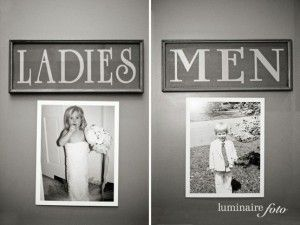 Hang pictures of the bride and groom when they were little on the bathroom doors.