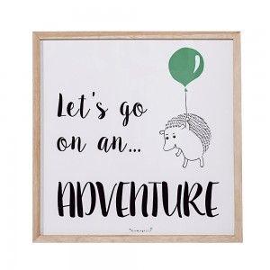 Obrazek w ramce, jeżyk z zielonym balonikiem - Bloomingville