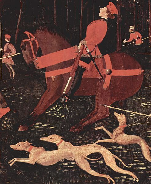 Paolo Uccello, (detail) Horse and rider with dogs, from Hunt in the Forest (by night), c. 1460. Tempera on Wood. Ashmolean Museum, Oxford.