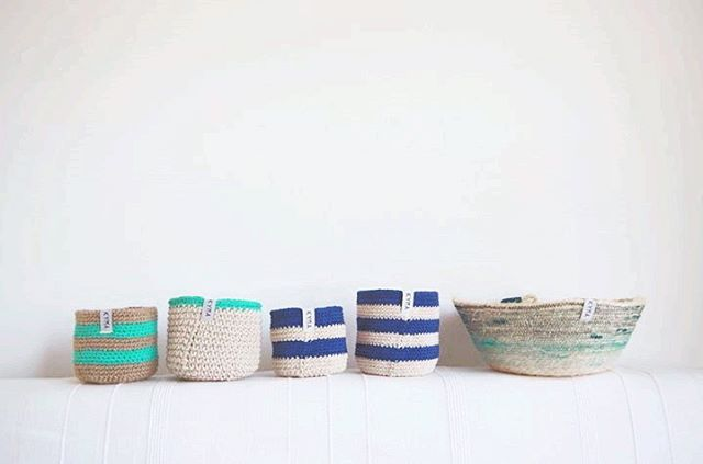 Handmade Sisal Coil Cotton Crochet Basket Korb ~ Nordic Design Style ~ http://kymastyle.wordpress.com ~ Dawanda Shop: http://dawanda.com/shop/kymastyle