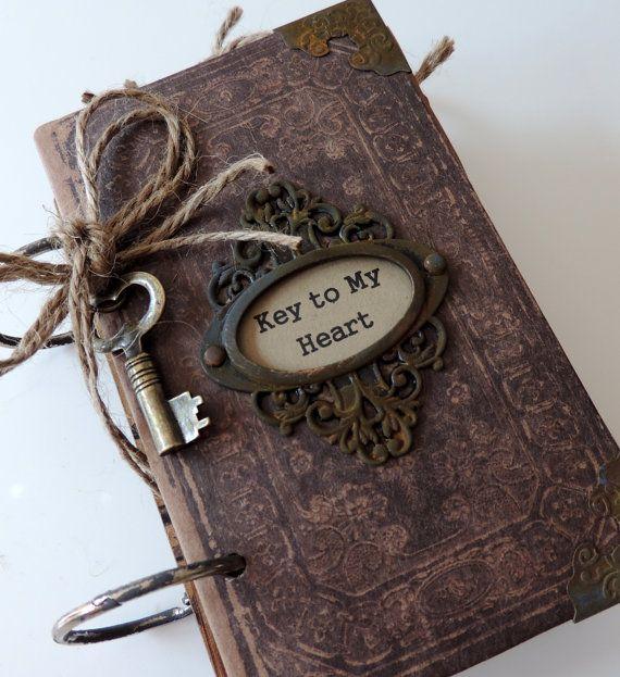 Valentine Journal, Men's Valentine Gift, Masculine Gift, Vintage Valentine Journal, Gift for Him, Romantic Gift, Key to My Heart