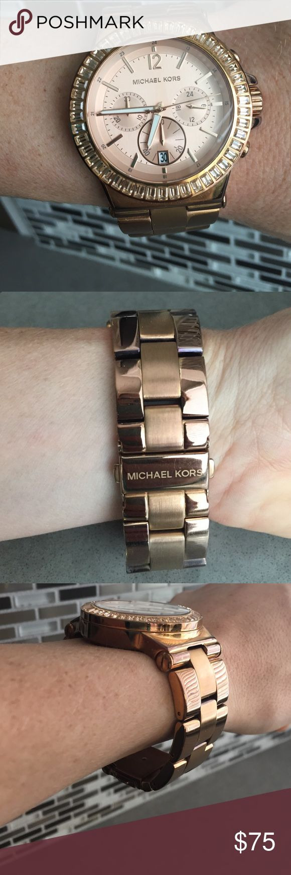 Rose Gold Michael Kors Watch. Rose Gold Michael Kors Watch with beautiful crystals around the face.  Shows signs of wear and needs battery.  Very pretty.  You can see it's big on me but Nordstroms or Michael Kors will add/remove links for free.  Also, rep at Michale Kors rep told me you can get it dipped by them so it looks brand new. Michael Kors Jewelry