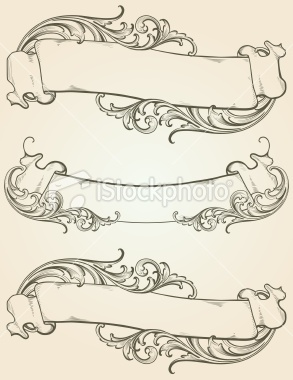 Vintage banners with engraved scrollwork by Sam Alfano.