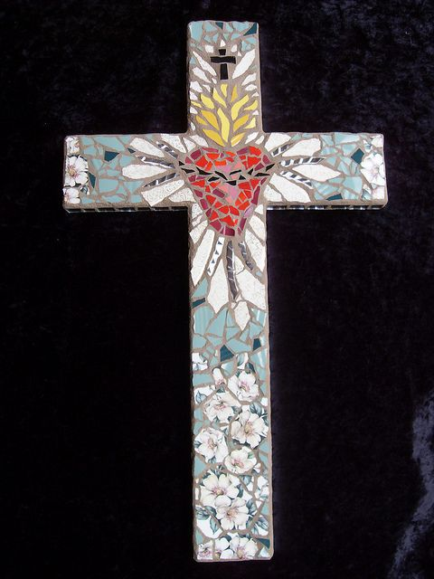Sacred Heart Mosaic Cross by dumblady mosaics, via Flickr