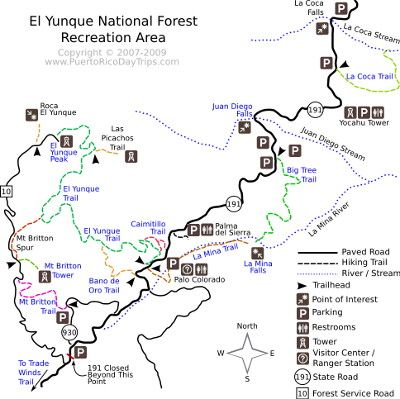 El Yunque Trail Map | Puerto Rico Day Trips Travel Guide