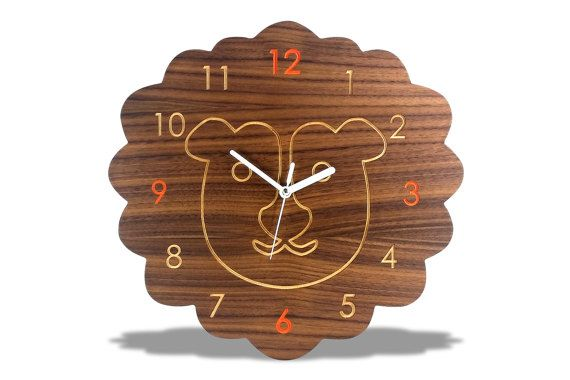 Modern Wooden Lion Kids Wall Clock by EchosWoodDesigns on Etsy