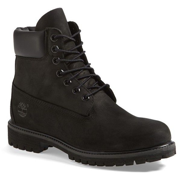 Timberland 'Premium' Boot ($190) ❤ liked on Polyvore featuring men's fashion, men's shoes, men's boots and black