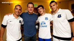 Matt Damon Chilled With Leighton Baines, Leon Osman, and Kevin Mirallas Of Everton FC