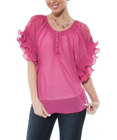 Take a look at this Pink Sheer Ruffle Cape-Sleeve Top by Lily on #zulily today!  Love this top!