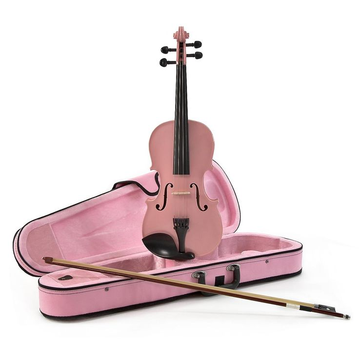 New Pink Student 3/4 Size Violin with Bow and Case - Images hosted at .