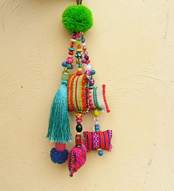 Turquoise Silk tassel Purse Charm Hmong fabric by midgetgems