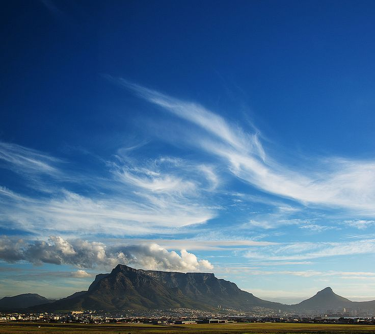 Table Mountain and Cape Town, South Africa.  View from African Pride Crystal Towers Hotel.