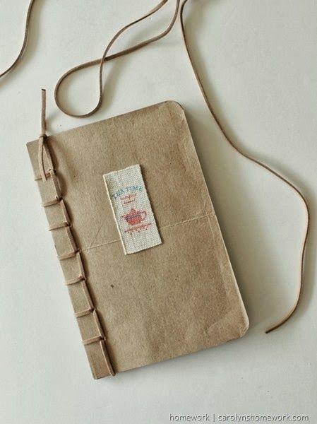 Recyled Grocery Bag Book - Fiskars Art Tools via homework #shop