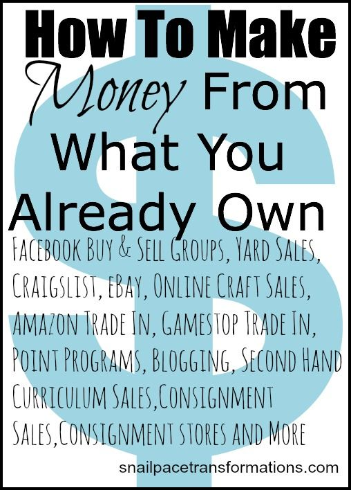 Selling Saturdays: A growing list of posts showing you how to turn your unused or under used items into cash - Snail Pace Transformations