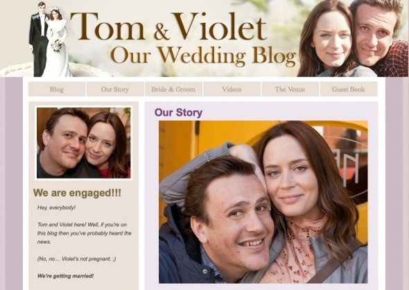 Jason Segel & Emily Blunt's Faux Wedding Blog. It's hilarious completely with goofy photos of the groom -- blemishes and all.