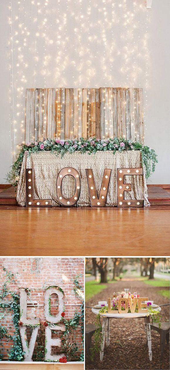 Decora tu boda utilizando letras LOVE