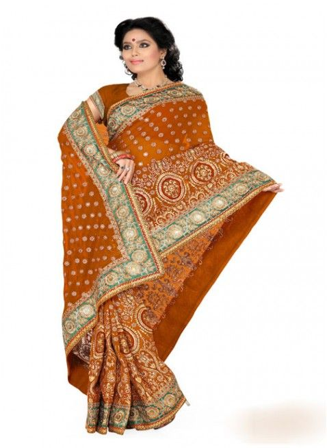 Captivating Deep Orange Color Faux Georgette Based Embroidered #Saree
