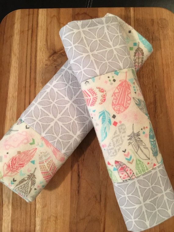 2-pk Feather Print and Gray Burp Cloths by 5BlueberryLane on Etsy