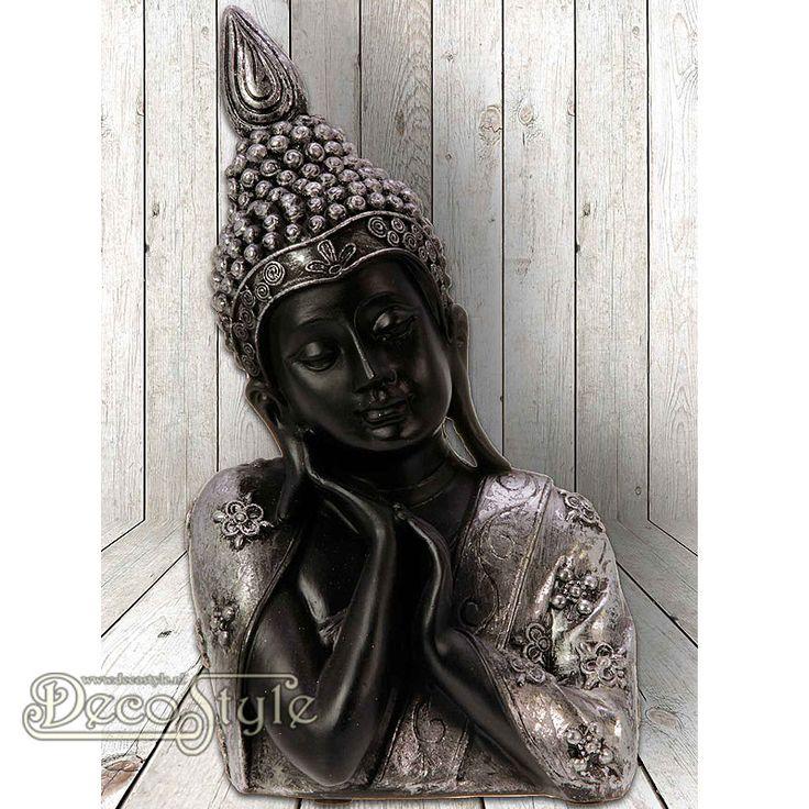 SLC Denkende Shiva Silver  Prachtige denkende Shiva Boeddha met een hand onder haar kin. Zeer gedetailleerd uitgevoerd.  Vervaardigd door Sweet Lake Company.  Materiaal: Handbeschilderd polystone  Kleur: Zilver / Zwart  Afmeting: Hoogte: 20.5 cm Breedte: 12 cm Diepte: 8.5 cm