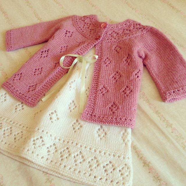 Ravelry: tikki's baby bloom cardigan (aka the diamond castle)