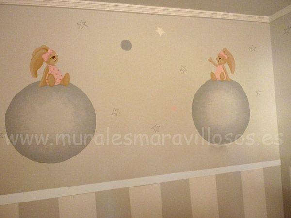 Murales de conejitos y ositos. Sobre paredes lisas, gotelé y otras superficies. www.muralesmaravillosos.es