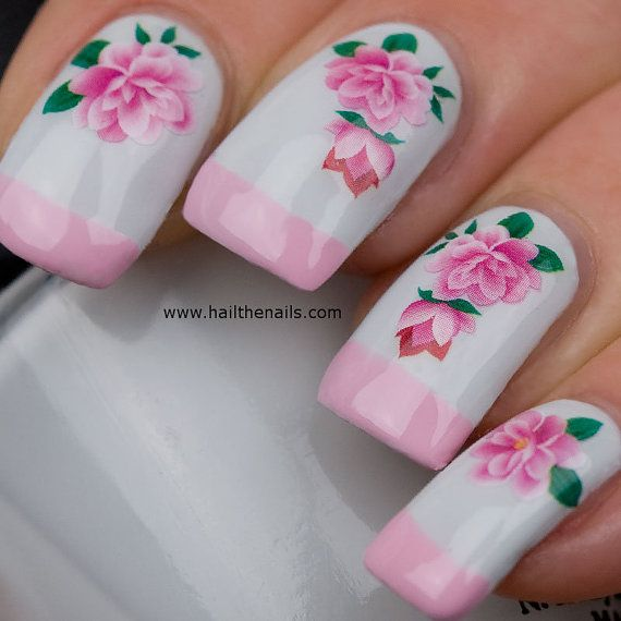 Nail WRAPS Nail Art Water Transfers Decals Pink by Hailthenails