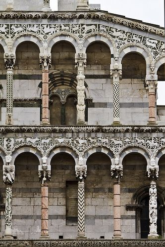 13th century facade of S. Michele in Foro (in the Forum) #Lucca #Italy #Romanesque