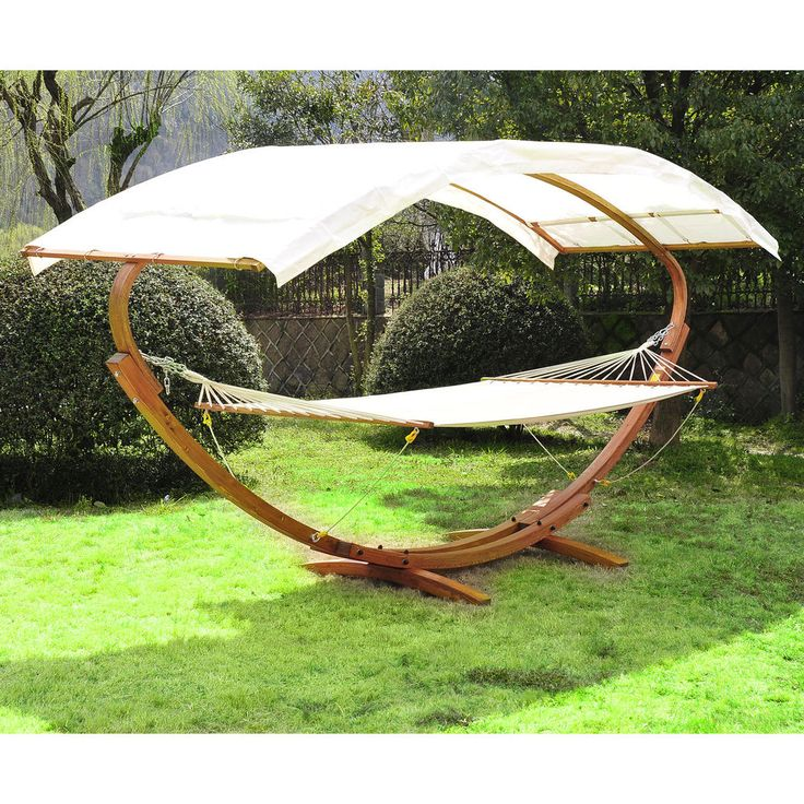 Patio Outdoor Curved Arc Double Hammock Stand Wooden Bed Camping w/Canopy #Outsunny