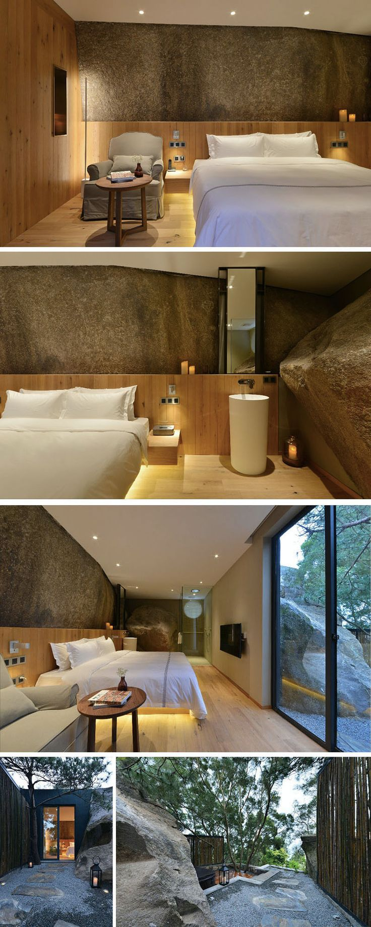 In this hotel room in China, a large rock wall has been left to create a feature wall, and in the bathroom, a large boulder has been left in the space. Outside, there's a small path that leads to a deck and private spa.