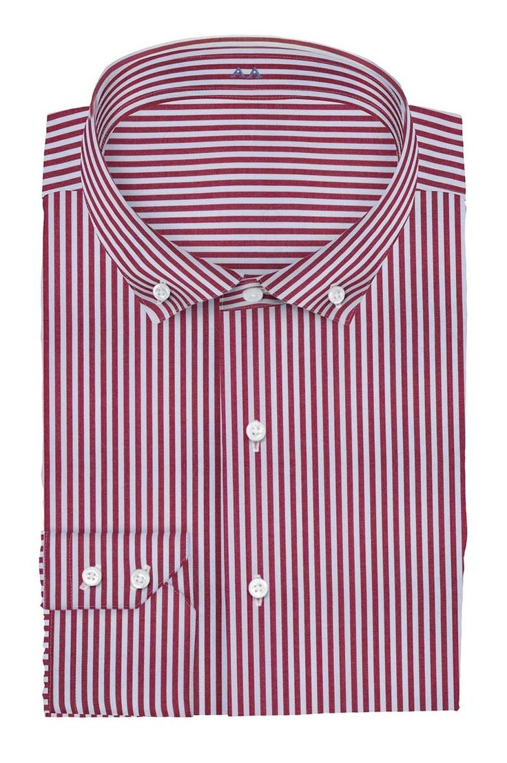 2016 new arriving 100% cotton burgundy striped with button down collar and two button cuff slim fit bespoke shirt men