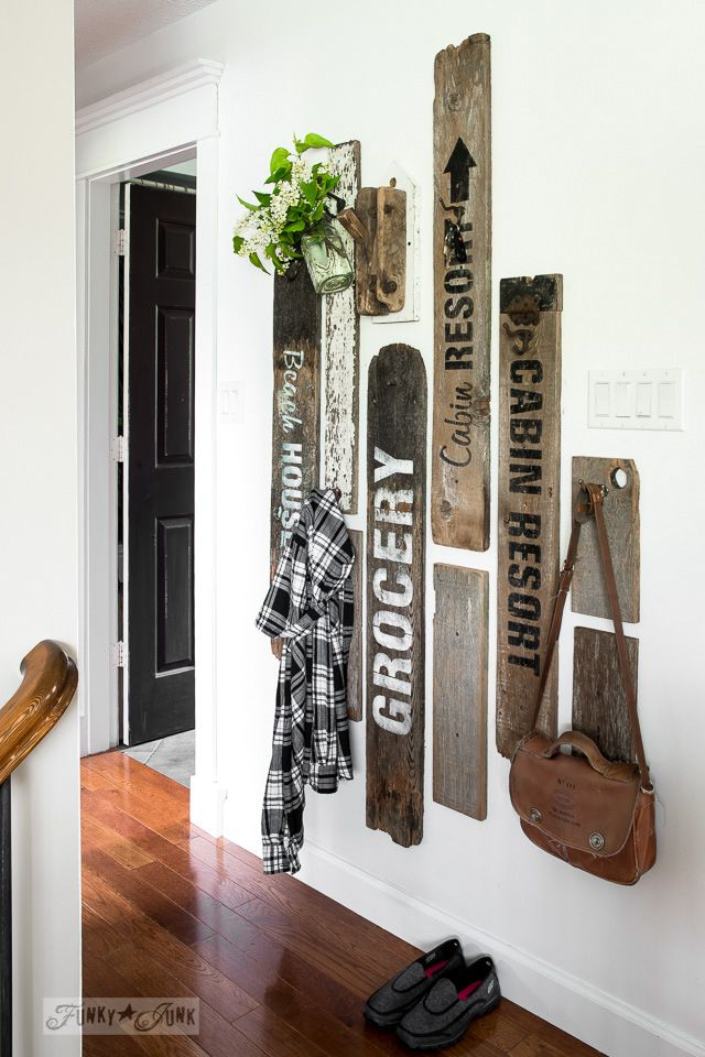 Revamped hallway old sign coat hooks entry, with Funky Junk's Old Sign Stencils / funkyjunkinterior...