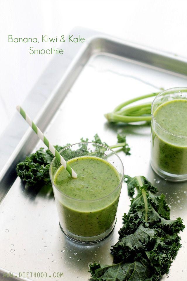 Banana, Kiwi and Kale Smoothie | www.diethood.com | #recipe #smoothie