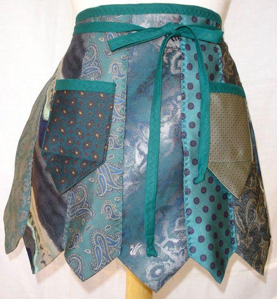 Apron from Repurposed Neckties in Teal and by Rumpelsilkskin, $32.00