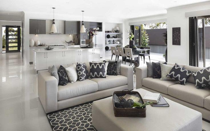 soggiorno con angolo cottura-toni-grigio
